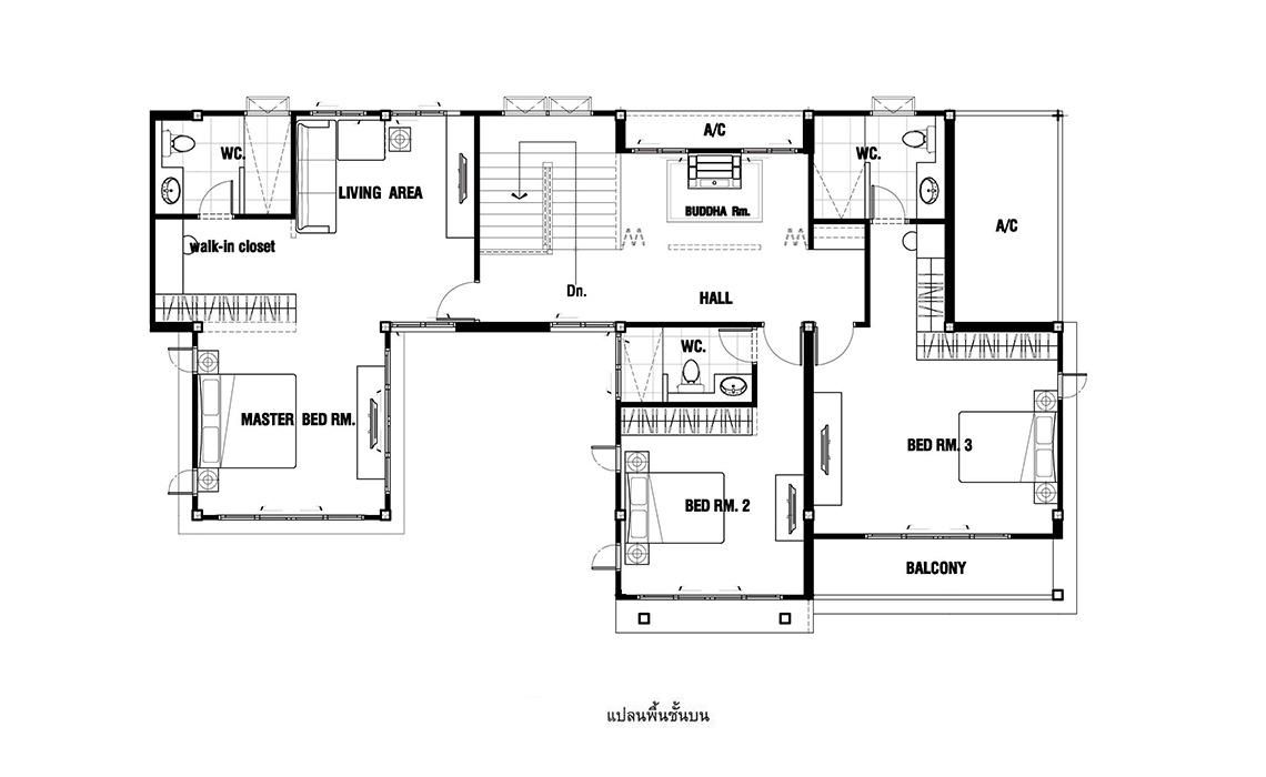 แบบบ้าน HOME PLAN - Tropical-001
